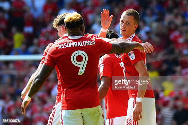 Thomas Lam of Nottingham Forest celebrates with team mates after scoring his sides second goal during the Sky Bet Championship match between...
