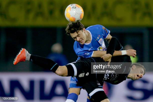 Thomas Lam of PEC Zwolle Adrian Dalmau of Heracles Almelo during the Dutch Eredivisie match between PEC Zwolle v Heracles Almelo at the MAC3PARK...