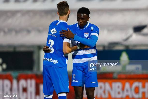 Thomas Lam of PEC Zwolle, Marc-Olivier Doue or PEC Zwolle after the Dutch Eredivisie match between PEC Zwolle and FC Utrecht in the MAC3Park stadium...