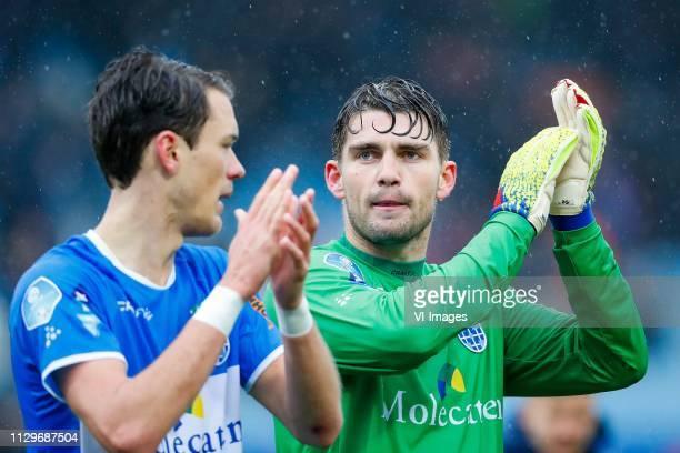 Thomas Lam of PEC Zwolle, PEC Zwolle goalkeeper Mickey van der Hart during the Dutch Eredivisie match between PEC Zwolle and AZ Alkmaar at the...