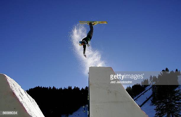 Thomas Lambert of Switzerland jumps during the aerials portion of the FIS 2006 Freestyle World Cup at Deer Valley Resort in Park City UT on January...