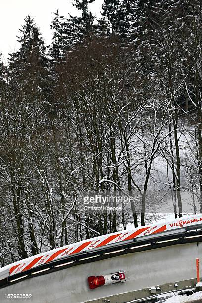 Thomas Lamparter and Beat Hefti of Switzerland speed during the two men's bob competition during the FIBT Bob & Skeleton World Cup at Bobbahn...