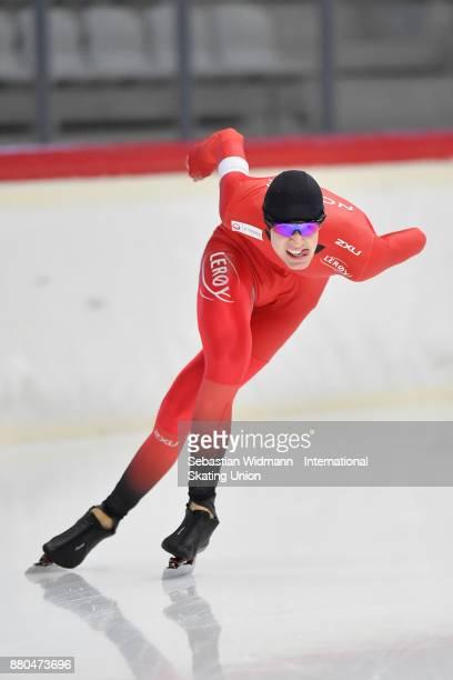 Thomas Lande Eriksen of Norway performs during the Men 1500 Meter at the ISU ISU Junior World Cup Speed Skating at Max Aicher Arena on November 26...