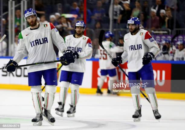 Thomas Larkin of Italy looks dejected during the 2017 IIHF Ice Hockey World Championship game between Denmark and Italy at Lanxess Arena on May 15...