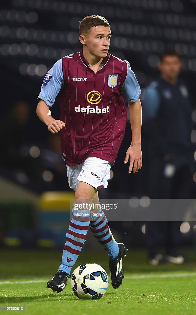 Thomas Leggett of Aston Villa in action during the Barclays U21 Premier League match between West Bromwich Albion and Manchester United at The Hawthorns on October 16, 2014 in West Bromwich, England.