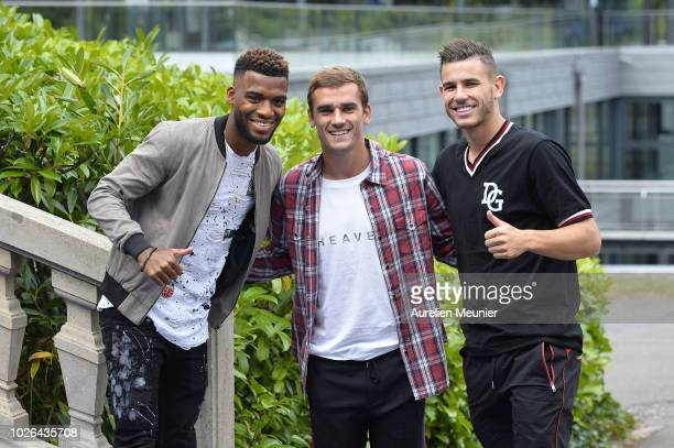 Thomas Lemar Antoine Griezmann and Lucas Hernandez arrive for a French Soccer team training session on September 3 2018 in EtivalClairefontaine France