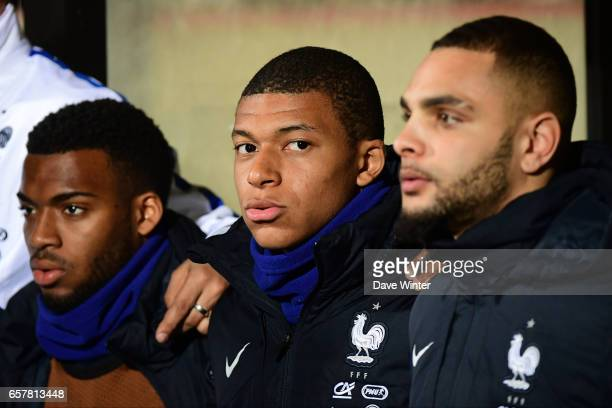 Thomas Lemar Kylian Mbappe and Layvin Kurzawa of France before the FIFA World Cup 2018 qualifying match between Luxembourg and France on March 25...