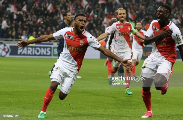 Thomas Lemar of AS Monaco celebrate his goal with Benjamin Mendy during the French League Cup Final match between Paris SaintGermain and AS Monaco at...