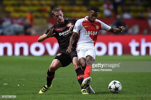 Thomas Lemar of AS Monaco FC is challenged by Lars Bender of Bayer 04 Leverkusen during the UEFA Champions League Group E match between AS Monaco FC...
