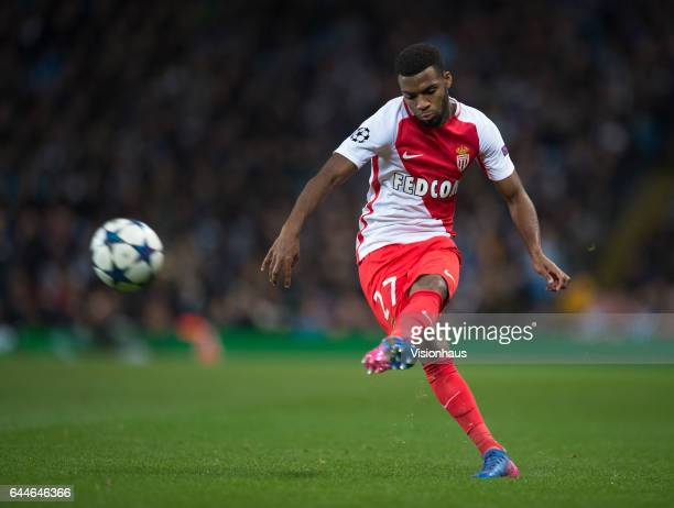Thomas Lemar of AS Monaco in action during the UEFA Champions League Round of 16 first leg match between Manchester City FC and AS Monaco at Etihad...