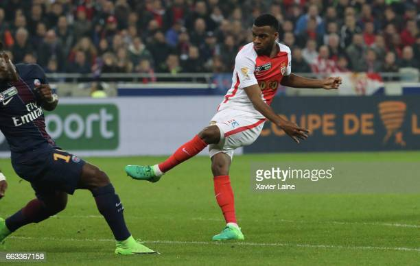 Thomas Lemar of AS Monaco scores a goal during the French League Cup Final match between Paris SaintGermain and AS Monaco at Parc Olympique on Japril...