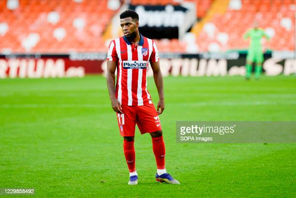 Thomas Lemar of Atletico de Madrid during the Spanish La Liga football match between Valencia and Atletico de Madrid at Mestalla Stadium Final score...