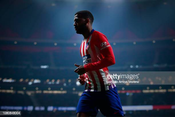 Thomas Lemar of Atletico de Madrid in action during the Copa del Rey fourth round second leg match between Atletico Madrid and Sant Andreu at Estadio...