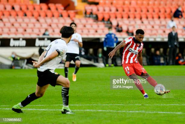 Thomas Lemar of Atletico de Madrid in action during the Spanish La Liga football match between Valencia and Atletico de Madrid at Mestalla Stadium...