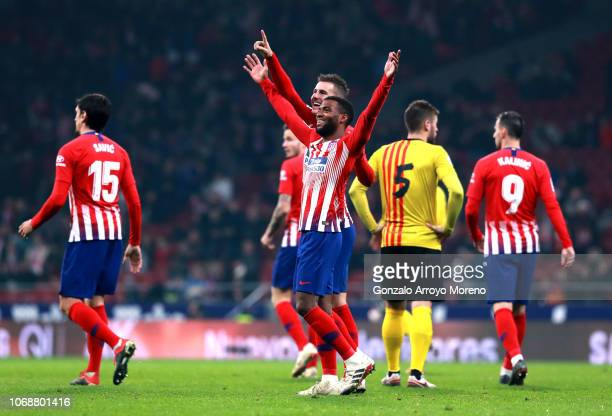 Thomas Lemar of Atletico Madrid celebrates with team mates after scoring their team's first goal during the Copa del Rey fourth round second leg...