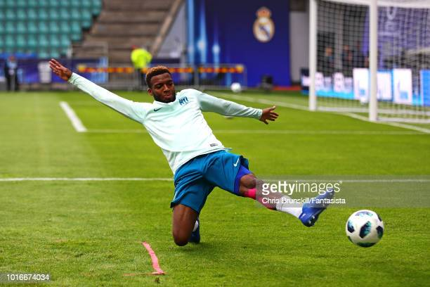 Thomas Lemar of Atletico Madrid in action during a training session ahead of the UEFA Super Cup at A Le Coq Arena on August 14 2018 in Tallinn Estonia