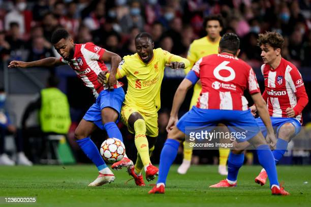 Thomas Lemar of Atletico Madrid, Naby Keita of Liverpool FC during the UEFA Champions League match between Atletico Madrid v Liverpool at the Estadio...