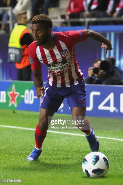 Thomas Lemar of Atletico runs with the ball during the UEFA Super Cup between Real Madrid and Atletico Madrid at Lillekula Stadium on August 15 2018...