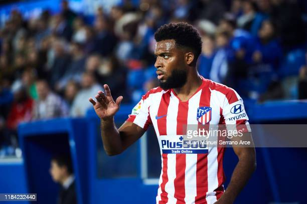 Thomas Lemar of Club Atletico de Madrid looks on during the Liga match between Deportivo Alaves and Club Atletico de Madrid at Estadio de...
