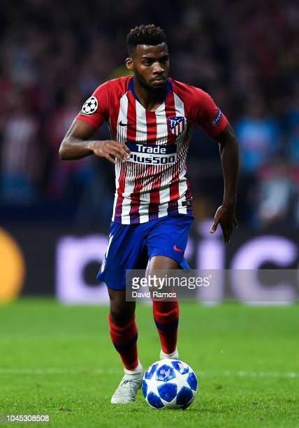 Thomas Lemar of Club Atletico de Madrid runs with the ball during the Group A match of the UEFA Champions League between Club Atletico de Madrid and...