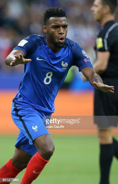 Thomas Lemar of France celebrates his first goal during the FIFA 2018 World Cup Qualifier between France and the Netherlands at Stade de France on...