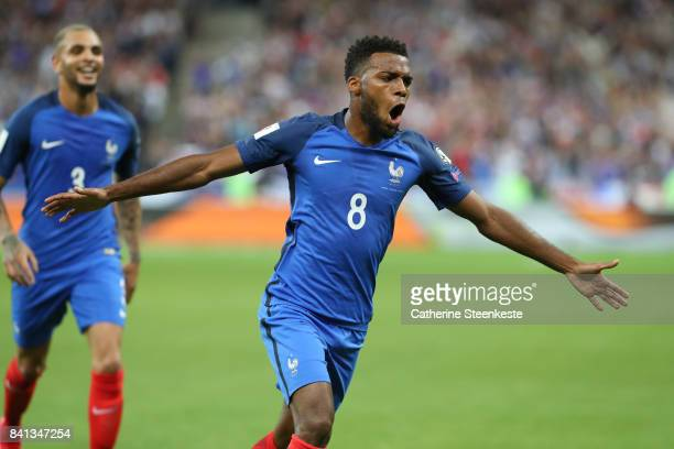 Thomas Lemar of France celebrates his first of two goals during the FIFA 2018 World Cup Qualifier between France and Netherlands at Stade de France...