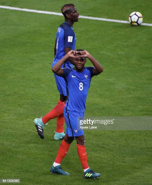 Thomas Lemar of France icelebrates his goal during the FIFA 2018 World Cup Qualifier between France and Netherlands at Stade de France on August 31...