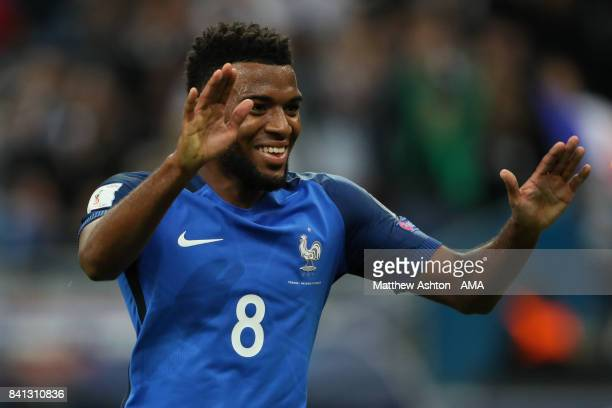 Thomas Lemar of France celebrates scoring a goal to make the score 30 during the FIFA 2018 World Cup Qualifier match between France and The...