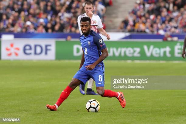 Thomas Lemar of France controls the ball during the FIFA 2018 World Cup Qualifier between France and Belarus at Stade de France on October 10 2017 in...