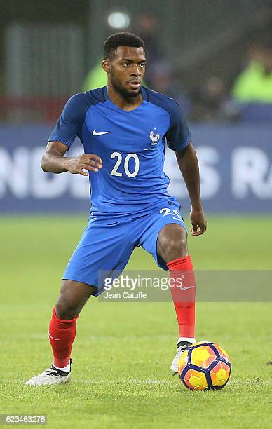 Thomas Lemar of France in action during the international friendly match between France and Ivory Coast at Stade Felix Bollaert Delelis on November...