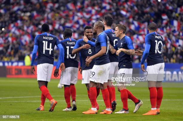 Thomas Lemar of France reacts after scoring during the international friendly match between France and Colombia at Stade de France on March 23 2018...