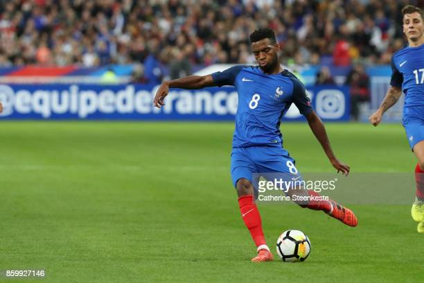 Thomas Lemar of France shoots the ball during the FIFA 2018 World Cup Qualifier between France and Belarus at Stade de France on October 10 2017 in...