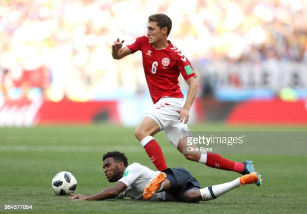 Thomas Lemar of France tackles Andreas Christensen of Denmark during the 2018 FIFA World Cup Russia group C match between Denmark and France at...