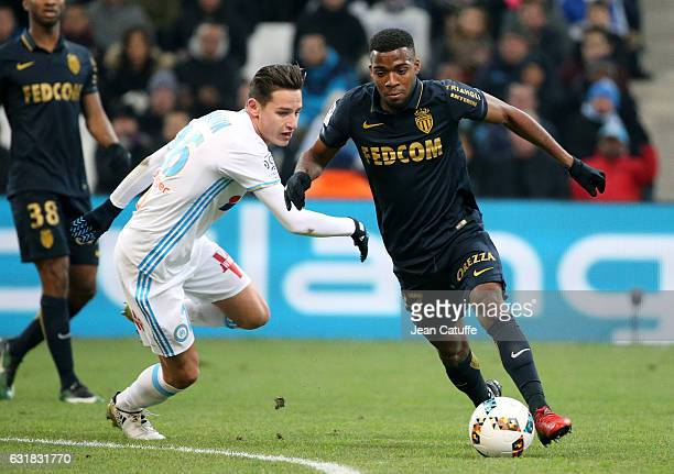 Thomas Lemar of Monaco and Florian Thauvin of OM in action during the French Ligue 1 match between Olympique de Marseille and AS Monaco at Stade...