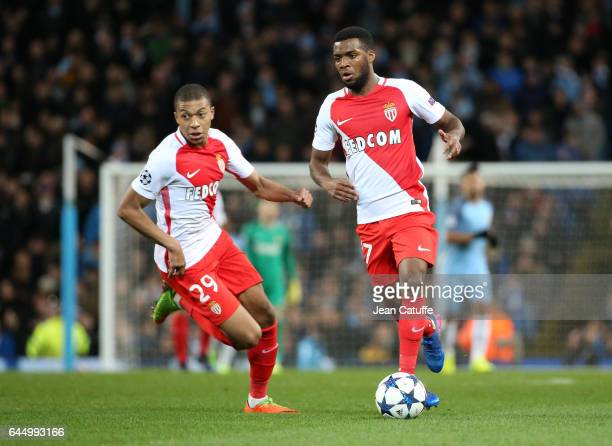 Thomas Lemar of Monaco and Kylian Mbappe in action during the UEFA Champions League Round of 16 first leg match between Manchester City FC and AS...