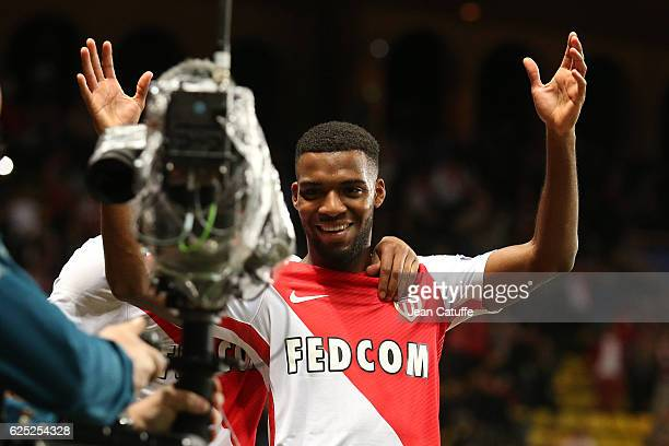 Thomas Lemar of Monaco celebrates his goal during the UEFA Champions League match between AS Monaco FC and Tottenham Hotspur FC at Stade Louis II on...