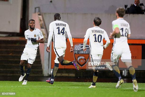 Thomas Lemar of Monaco celebrates scoring during the Ligue 1 match between Fc Lorient and As Monaco at Stade du Moustoir on November 18 2016 in...