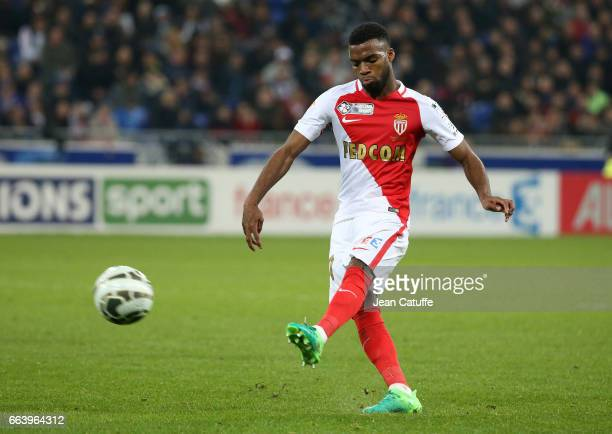 Thomas Lemar of Monaco during the French League Cup final between Paris SaintGermain and AS Monaco at Parc OL on April 1 2017 in Lyon France
