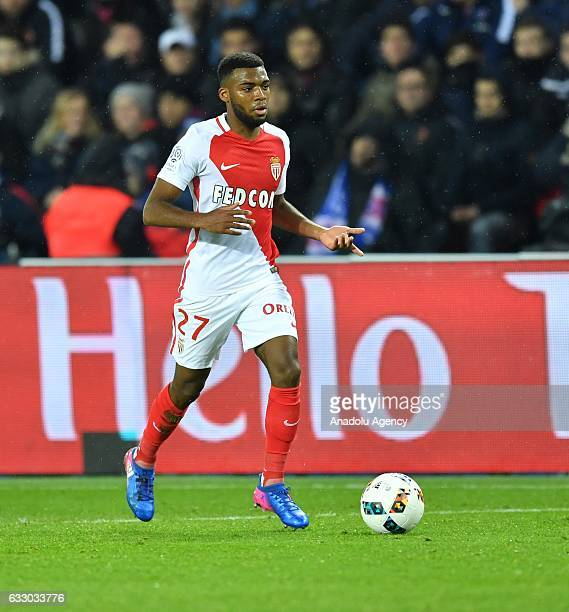 Thomas Lemar of Monaco in action during the French Ligue 1 football match between Paris SaintGermain and Monaco at the Parc des Princes Stadium in...