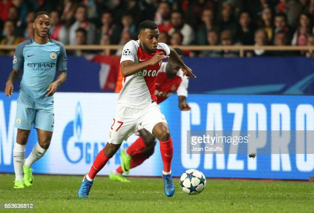 Thomas Lemar of Monaco in action during the UEFA Champions League Round of 16 second leg match between AS Monaco and Manchester City FC at Stade...