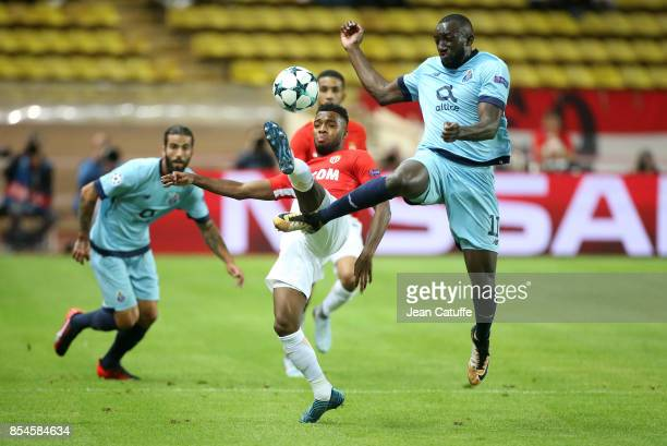 Thomas Lemar of Monaco Moussa Marega of FC Porto during the UEFA Champions League group G match between AS Monaco and FC Porto at Stade Louis II on...