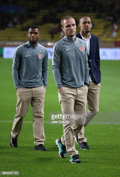 Thomas Lemar Valere Germain Fabio Henrique Tavares aka Fabinho of Monaco look on before the UEFA Champions League Round of 16 second leg match...