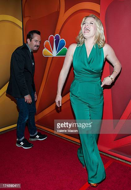 Thomas Lennon and Megan Hilty arrives at the NBCUniversal's 2013 Summer TCA Tour at The Beverly Hilton Hotel on July 27 2013 in Beverly Hills...