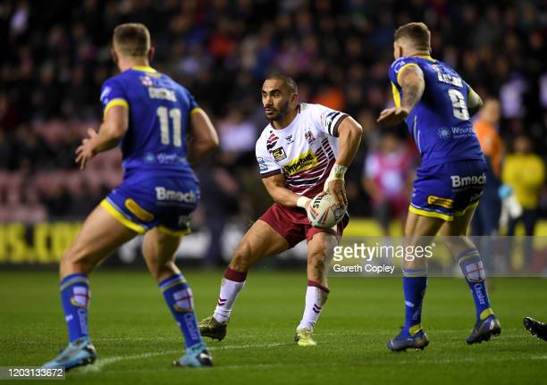Thomas Leuluai of Wigan during the Super League match between Wigan Warriors and Warrington Wolves at DW Stadium on January 30 2020 in Wigan England