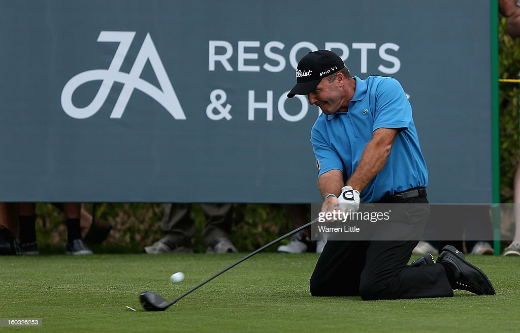 Thomas Levet of France in action during the Challenge match at The Jebel Ali Hotel and Golf Resort as a preview for the Omega Dubai Desert Classic on January 29, 2013 in Dubai, United Arab Emirates.
