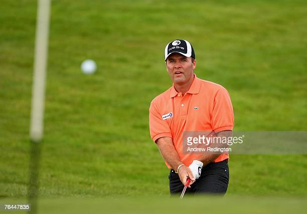 Thomas Levet of France plays from a bunker on the second hole during the third round of The Johnnie Walker Championship on The PGA Centenary Course...