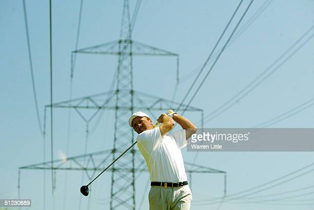 Thomas Levet of France tees off on the 11th hole during the third round of the BMW International Open at Eichenried Golf Club on August 28 2004 in...