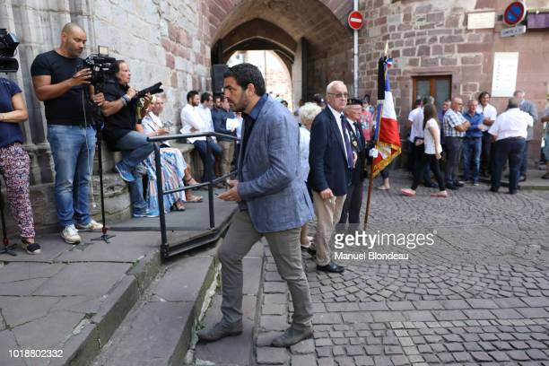 Thomas Lievremont is seen at the burial of Pierre Camou in Saint Jean Pied de Port during the Funeral of former rugby player Pierre Camou on August...
