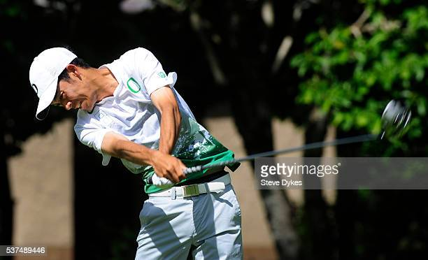Thomas Lim of Oregon hits his drive during the final round of the 2016 NCAA Division I Men's Golf Championship at Eugene Country Club on June 1 2016...
