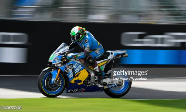 Thomas Luthi of Sweden on his Estella Galicia Honda RC213V during the qualifying session for Sundays race at Silverstone Circuit on August 25 2018 in...